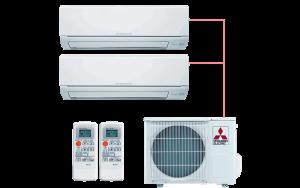 Мульти сплит система на 2 комнаты Mitsubishi Electric MSZ-HJ25VA ER1*2 MXZ-2HJ40VA ER1