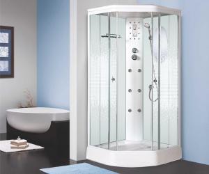 Душевая кабина Niagara Premium NG-306-01 90х90 с гидромассажем профиль белый стекло с рисунком мозаика