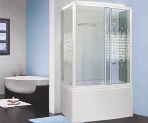 Душевая кабина Niagara Premium NG-307-01L 120х80 с гидромассажем профиль белый стекло с рисунком мозаика левая