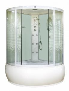 Душевая кабина Niagara Premium NG-317-01 135х135 с гидромассажем профиль белый стекло с рисунком мозаика