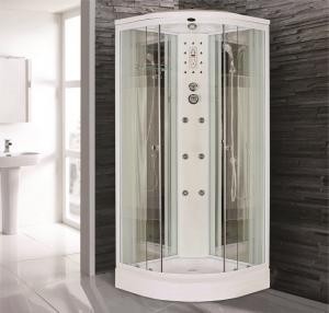 Душевая кабина Niagara Premium NG-7012-01 120х120 с гидромассажем профиль белый стекло с рисунком полоска