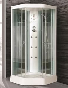 Душевая кабина Niagara Premium NG-706-01 90х90 с гидромассажем профиль белый стекло с рисунком полоска