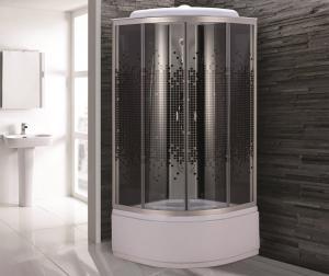 Душевая кабина Niagara Eco NG-7509-14 100х100 профиль серебро стекло с рисунком мозаика