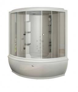 """Душевой бокс Radomir Калифорния 1 155х155 с крышей """"сендвич"""", пар, гидромассаж, прозрачное стекло"""