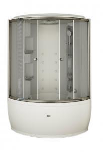Душевой бокс Radomir Лаура Люкс 1 128х128 с крышей типа «сендвич», прозрачное стекло, профиль хром, пар, гидромассаж